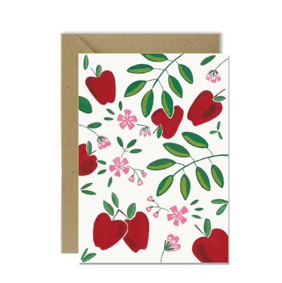 Apple pattern card by amylindroos.com on Etsy