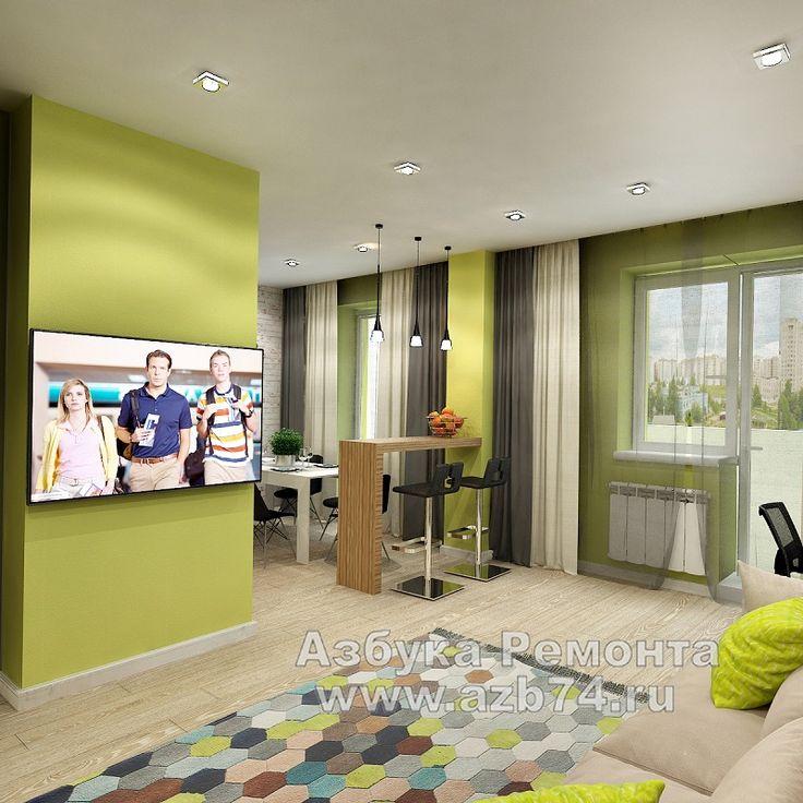 Гостиная-студия в современном стиле площадью 32м2