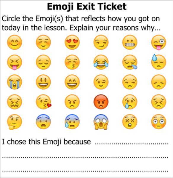 Exit Slip with emojis