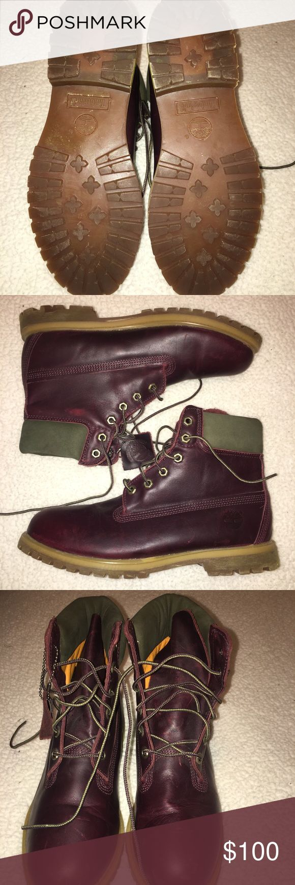 """Timberland 6"""" Dark Burgundy Leather Boot Like new! Worn 5 or less times! Great condition and a somewhat rare/unique color timberland Timberland Shoes Lace Up Boots"""