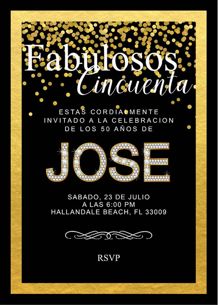 Fabulosos Cincuenta invitation from Fabulous 50 Black & Gold Birthday Party at Kara's Party Ideas. See over 20 pictures at karaspartyideas.com!