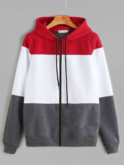 Color Block Drawstring Hooded Zip Up Sweatshirt