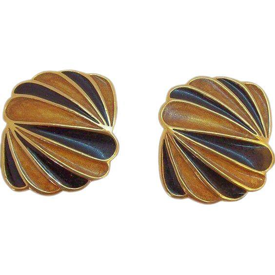 Vintage Trifari Orange Black Enameled Goldtone Metal Clip on Earrings. found at www.rubylane.com #vintagebeginshere