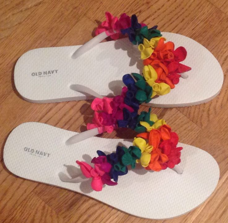 Water balloon decorated flip flops!  Ready for the pool.