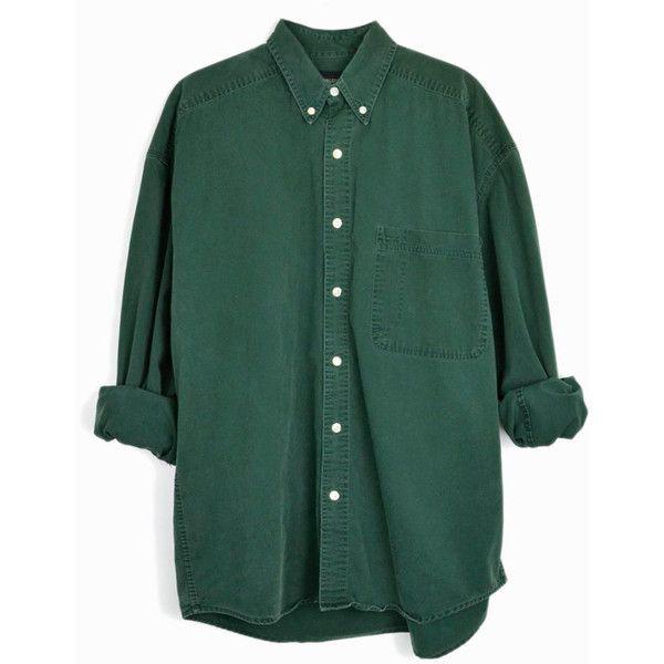 Vintage Hunter Green Button Down Shirt 90s Men's Shirt men's medium ($42) ❤…
