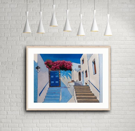 Santorini Art Print Original Art Print Greece Print by MaritimArt