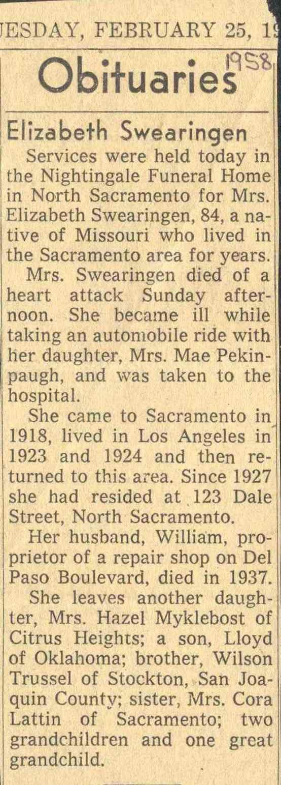 44 best swearingen family history images on pinterest family obituary for elizabeth trussel swearingen sacramento bee 1betcityfo Choice Image