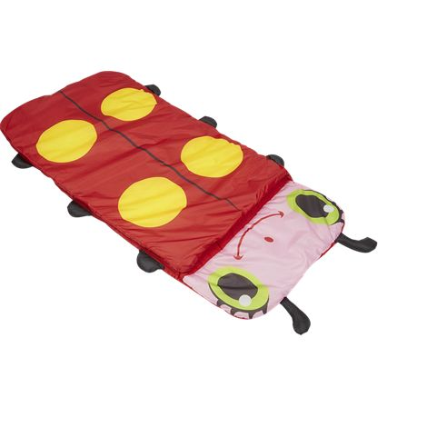 Melissa & Doug Mollie Ladybug Child Sleeping Bag is stuffed with comfy polyester and is the perfect place for a night filled with sweet dreams. It is five feet long and recommended for children age five years and above.