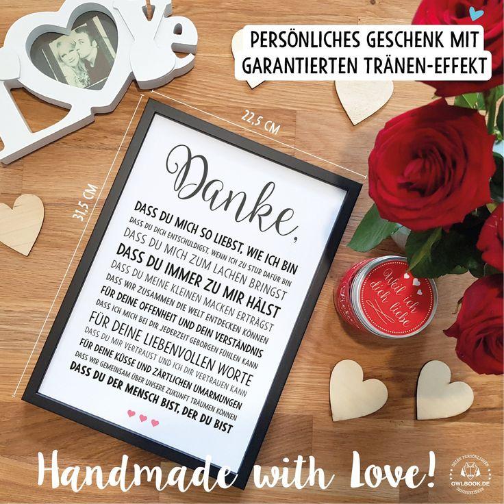 DANKE Liebe – Bild optional mit Rahmen – persönliche Liebeserklärung Geschenkidee Geburtstag Valentinstag Hochzeitstag Jahrestag Mann Frau – OWLBOOK