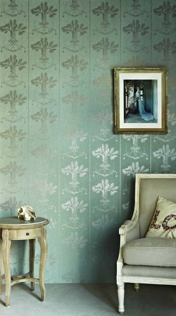 Barneby Gates   Lucky Charms Graphite On Denim Wallpaper   Paper Room