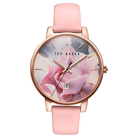 Buy Ted Baker TE10030745 Women's Katie Date Leather Strap Watch, Pink/Multi…