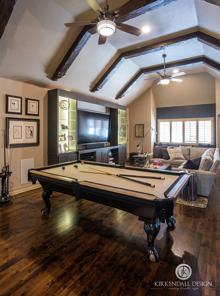 This Entertainment Space Has Something For Everyone With A Pool Table Positioned Between The Ba Wall Decor Living Room Pool Table Room Media Room Paint Colors