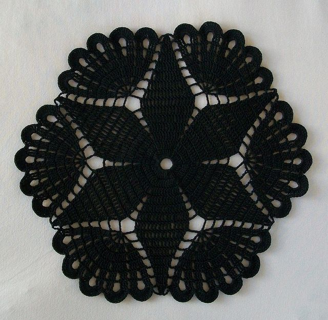 Black Crochet Gothic Doily with Flower and Fans by Acadian Crochet, via Flickr