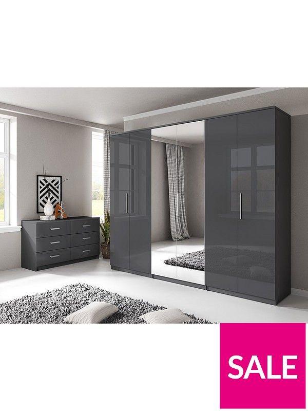 Prague Gloss 6 Door Mirrored Wardrobe | Wardrobe | Pinterest | Mirrored  Wardrobe, Large Wardrobes And Hanging Rail