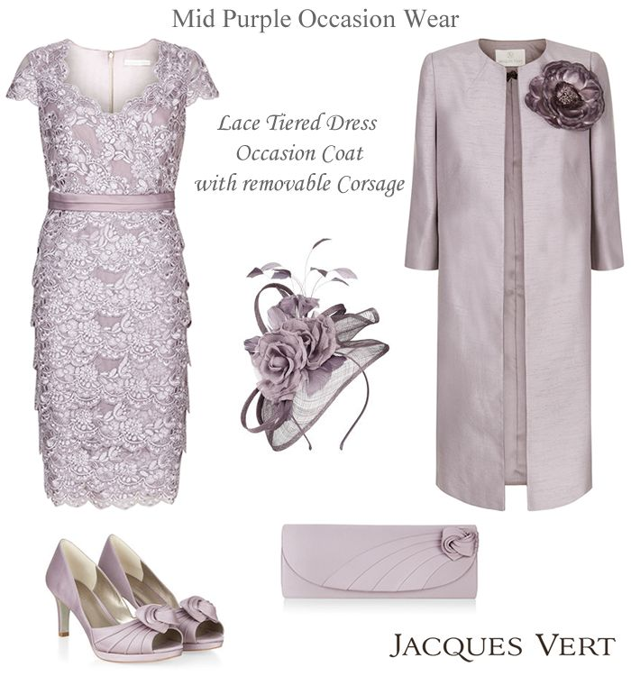 Jacques Vert mauve occasion frockcoat with detachable corsage flower. Mother of the Bride mid purple lace dress and coat outfits shoes bag and hat