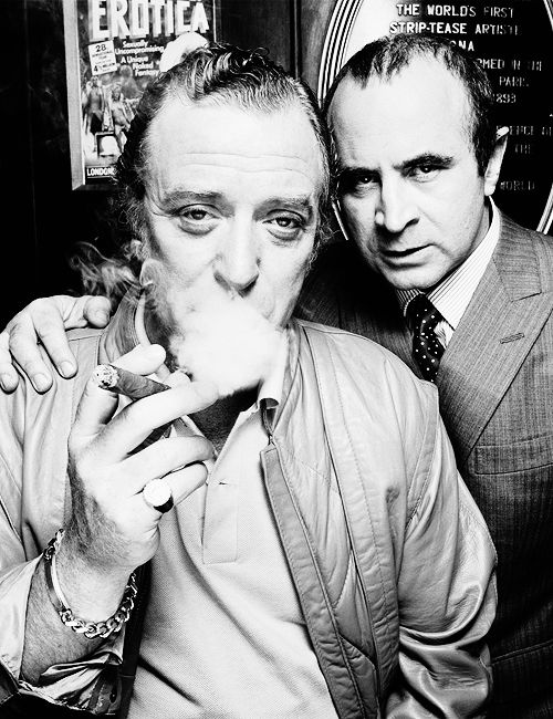 Michael Caine and Bob Hoskins photographed by Terry O'Neill on the set of Mona Lisa (1986).