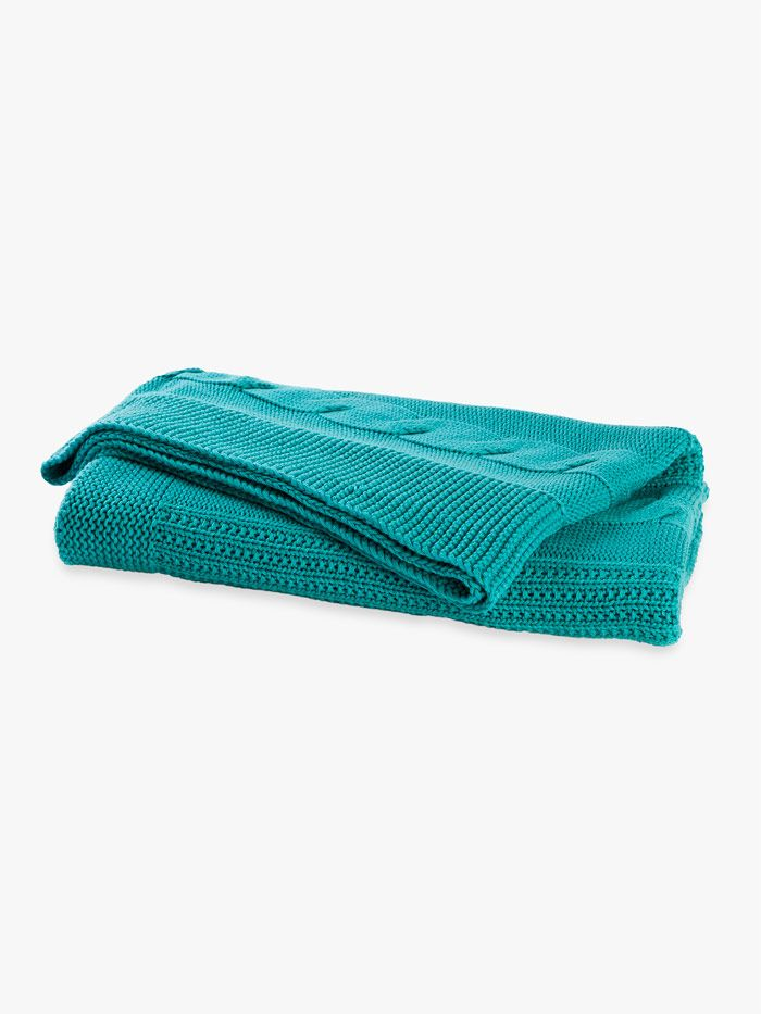 AURA Cable Knit Throw in Ocean, available at Forty Winks