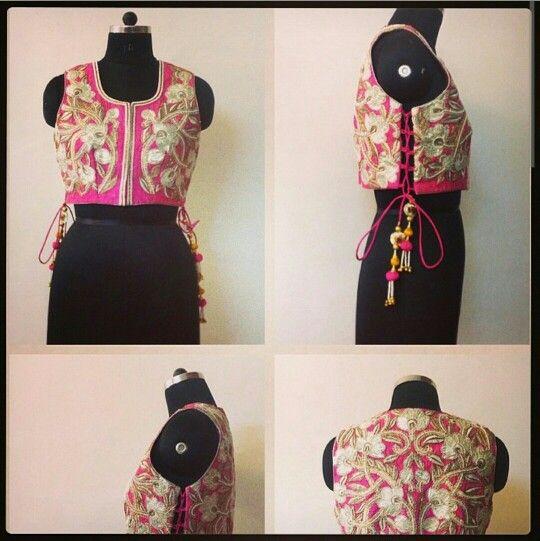 Pink koti with threadwork and gota patti