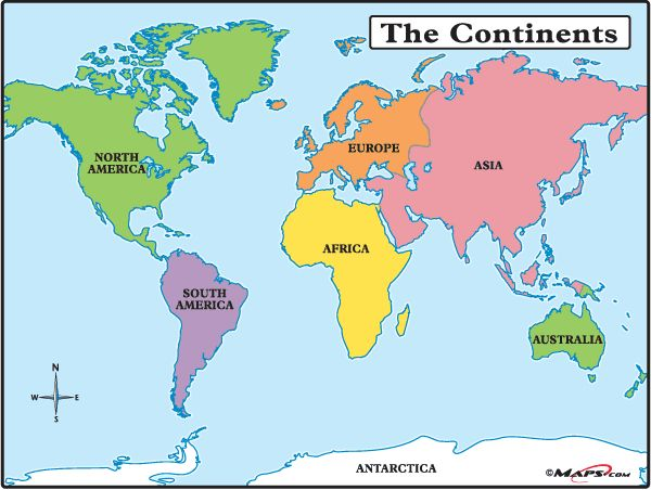 Map Europe Africa South America North America Antarctica Asia - North and south america map