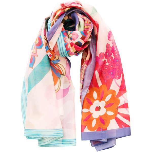 Flora-retro flowers silk cotton shawl/wrap/pareo-pink ($99) ❤ liked on Polyvore featuring accessories, scarves, colorful scarves, shawl scarves, silk shawl, floral scarves and wrap scarves