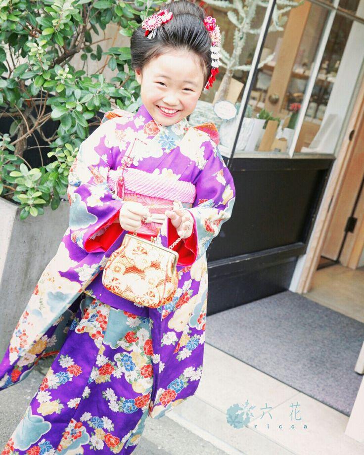 七歳女の子祝着 七五三 着物レンタル・着付け・ヘアメイク 日本髪風ヘアアレンジ アンティーク紫色古典柄