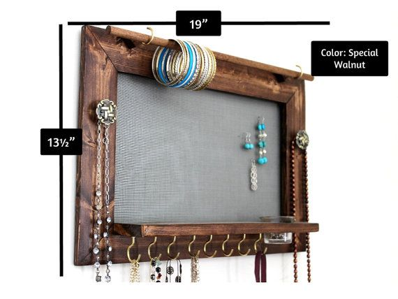 Jewelry Organizer Wooden Wall Hanging Jewelry by TheWoodenCorner