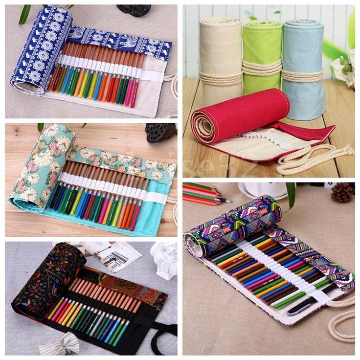 Various Pattern Canvas Curtain Holder Pouch Roll Pen Pencil Case Bag Storage #UnbrandedGeneric