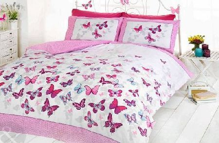 Just Contempo GIRLS BUTTERFLY BEDDING - Reversible Polka Dot Cotton Rich Duvet Cover Bed Set Pink ( white purple t A gorgeous printed bed set with a butterly design on one side and a polka dot reverse. Vibrant and bold with a super soft cotton blend fabric. Three stunning colours to c (Barcode EAN = 5055786983332) http://www.comparestoreprices.co.uk//just-contempo-girls-butterfly-bedding--reversible-polka-dot-cotton-rich-duvet-cover-bed-set-pink--white-purple-t.asp