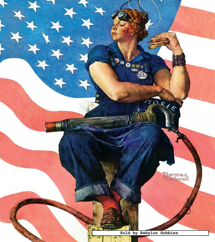 rosie the riveter by norman rockwell norman rockwell pinterest. Black Bedroom Furniture Sets. Home Design Ideas