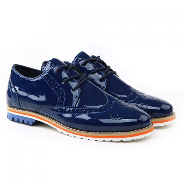 Trendy Patent Leather and Openwork Design Casual Shoes For Men on dresslily.com