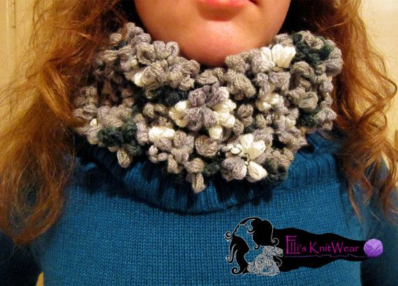 Rounded Gray Flower Scarf by EllisKnitwearShop on Etsy