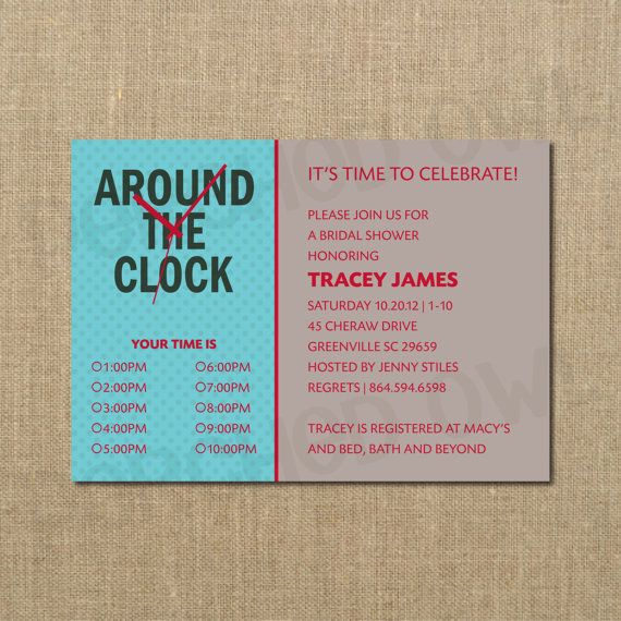 10 best around the clock shower images on pinterest wedding around the clock bridal shower invitation by perchedowl on etsy 1200 filmwisefo Images