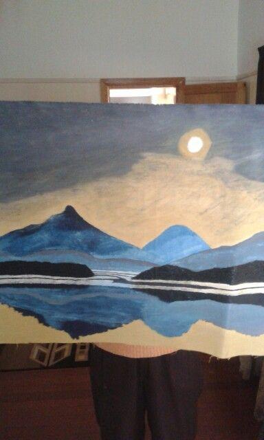 Sunset. Oil paint on canvas. Artist is Charl Blignaut. (Blikkies). 2014