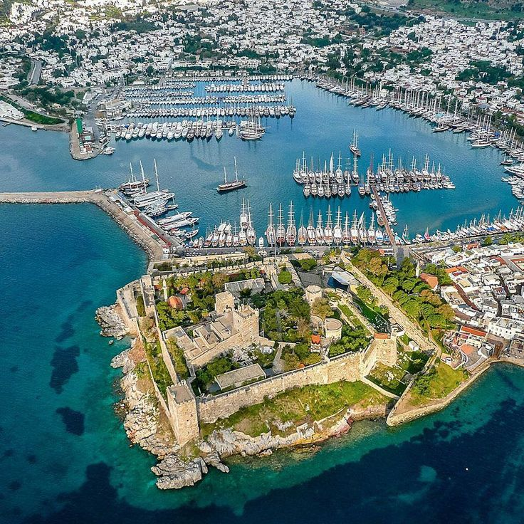 Fly on down for a closer look at the magnificent Bodrum Castle!⠀
