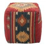 Maroon and Midnight Blue Pouf