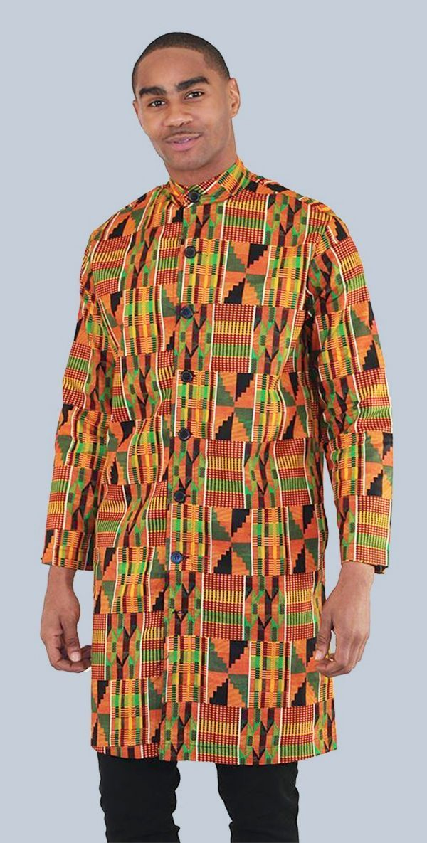 African Kente Kurta - Men's Long African Button-Up Shirt - This traditional African shirt displays the bold and colorful traditional patterns of Africa.  Each shirt is covered top to bottom with traditional kente cloth patterns in orange, green, black, and red.  Celebrate African culture and history with these bold and beautiful men's African shirts.  #menclothing #mensstyle #africa #african #blackhistorymonth #mensfashion #fashion #style #manly #africanfashion #sexyman #handsome #manly