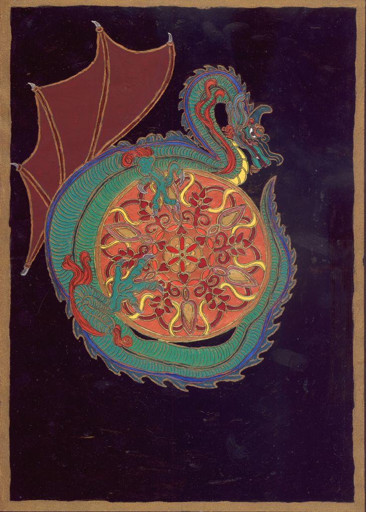 A tantien védősárkánya. 2009 májusi álom alapján. Érdekes volt, hogy egy európai sárkány védte a tantient, s annak az ornamentikája is európai. Bővebben: ..A tai chi gyakorlatok hatása az álomképek változására http://astroconsult.ingyenblog.hu/szall-a-kez-mint-a-felho-–-a-zold-sarkany-mandalaja.blog ias volt.