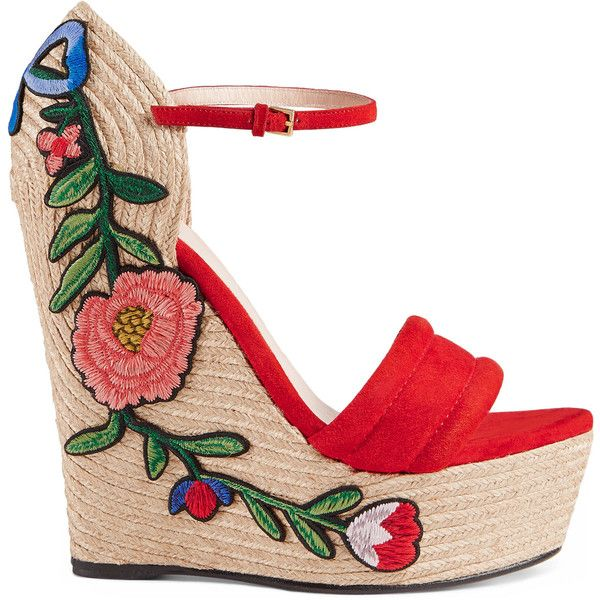 Gucci Embroidered Suede Platform Espadrille ($615) ❤ liked on Polyvore featuring shoes, sandals, wedges, gucci, red, ankle strap wedge sandals, platform espadrille sandals, platform wedge sandals, platform espadrilles and high heel wedge sandals