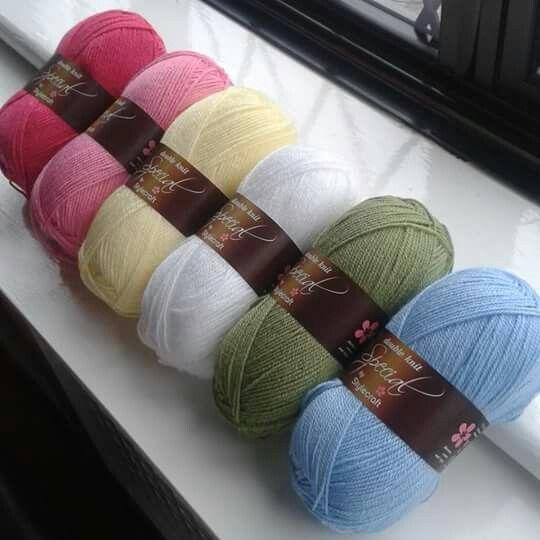 Stylecraft in Cath kidston colours...pomegranate, fondant, lemon, white, meadow, cloud blue