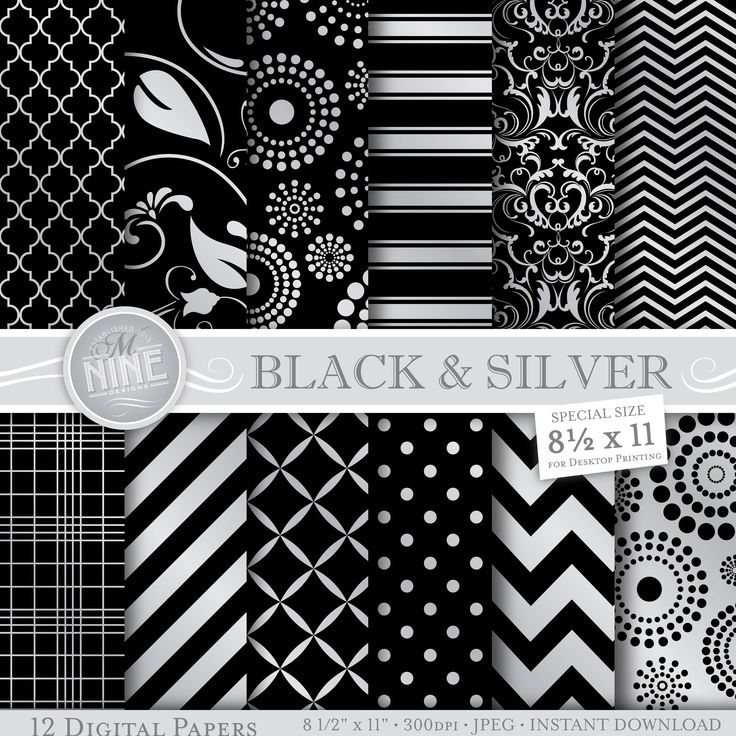 SILVER 8 1/2 x 11 Digital Paper Set *Great for use on greeting cards, invitations, printable projects, party packs. paper craft, party invites, digital scrapbooking, backgrounds for blogs / photo albums / scrapbooks and many more creative projects! ***Purchase 3 or more items and