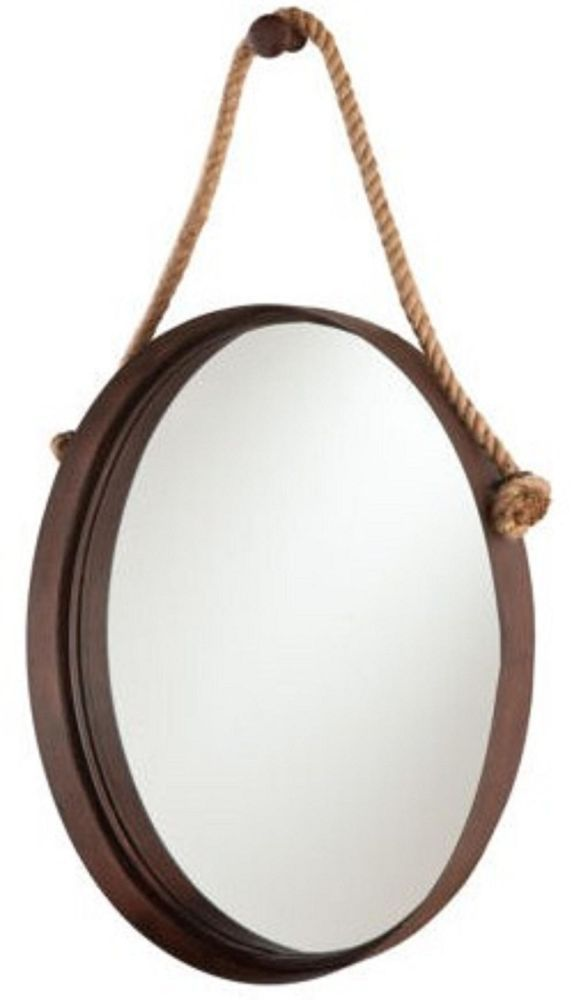 Delightful Round Metal Mirror With Rope Part - 2: NEW Rustic Wall Mirror Rope Western Hanging Oval Round Aged Metal Barn Bath  Room