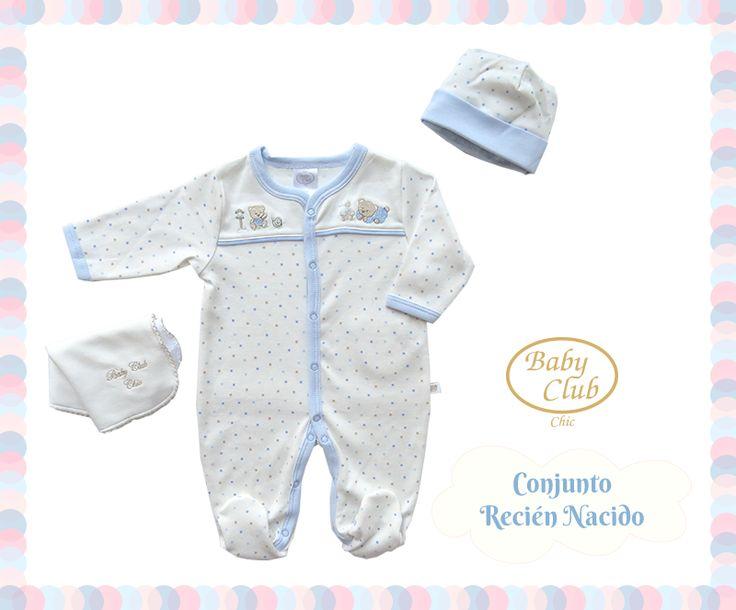 Básicos para el Recién Nacido. Enterizo con Gorro y Babita en 100% Algodón Pima Peruano. Colección Baby Gift by Baby Club Chic.