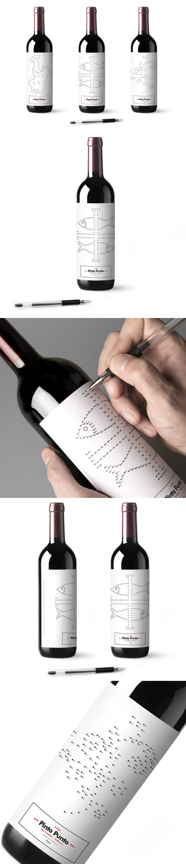 Bouteille - Vin - Jeu - Etiquettes - Vino Pinto Punto - Xisco Barceló