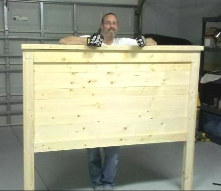 Farmhouse headboard that claims itself to cost less than 100 and take an hour or two to build.