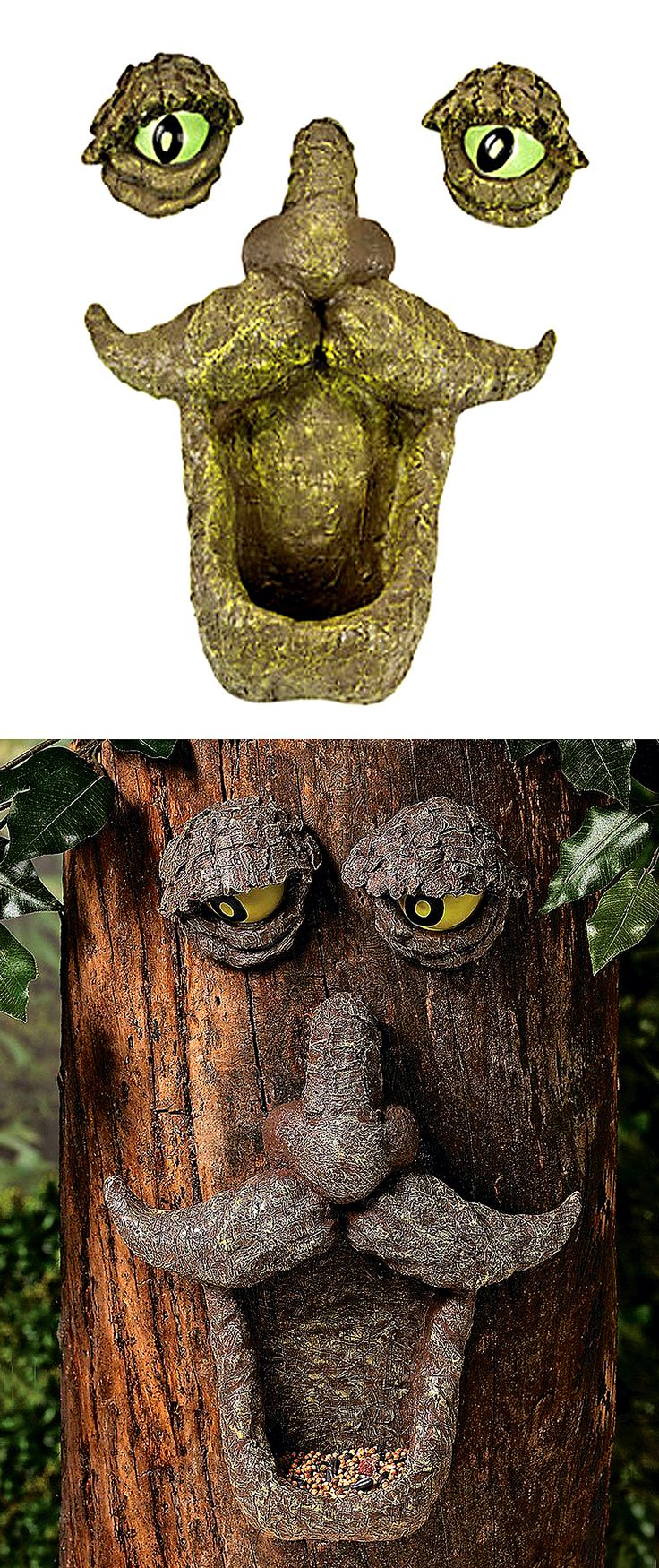 I love all these trees looking back at me :D | Check it out here ==> http://gwyl.io/tree-face-bird-feeder/