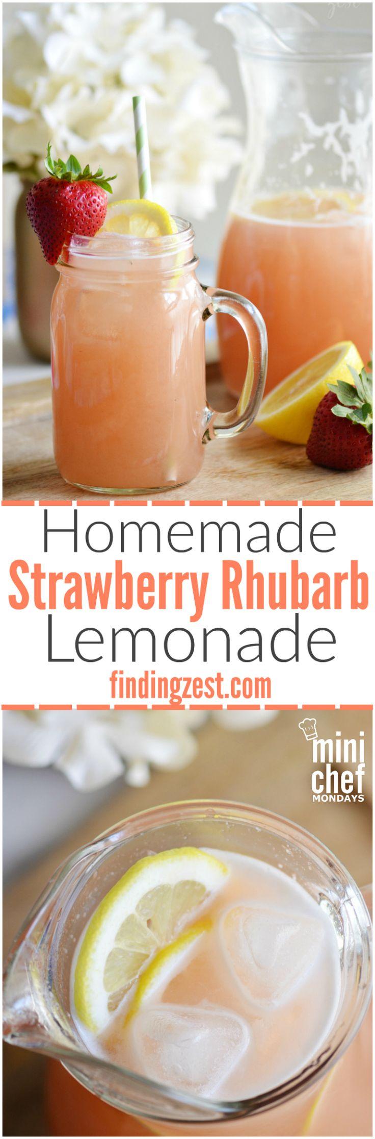 Homemade Strawberry Rhubarb Lemonade: Make this refreshing strawberry rhubarb lemonade as a way to cool off this summer! This is a fun, unique twist on traditional lemonade.