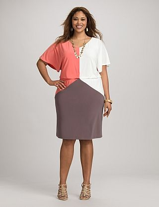 Plus Size Colorblock Dolman Dress | Dressbarn