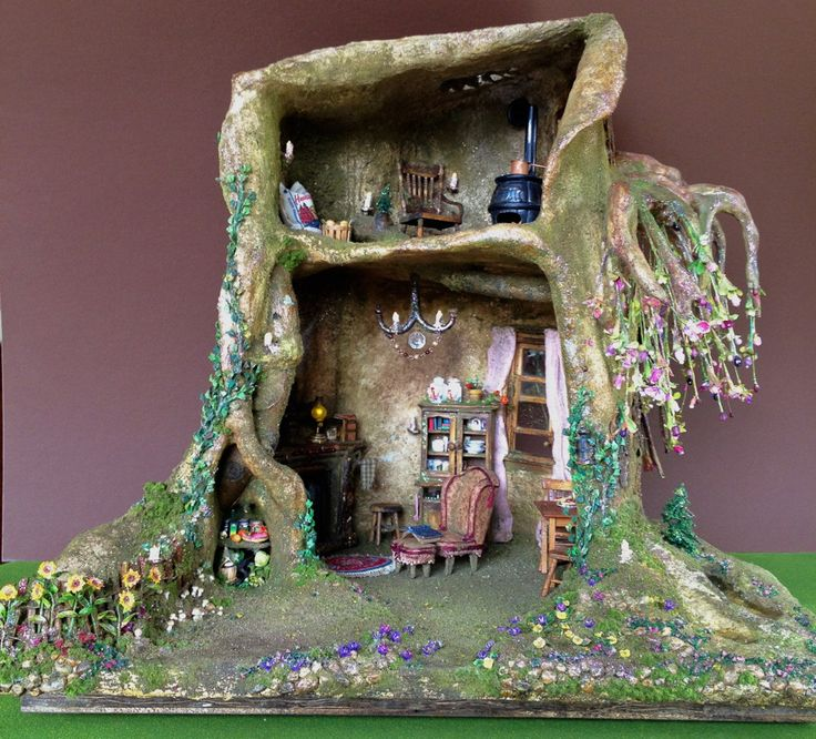 Miniature Tree House 36 best fairy house tree trunk dollhouse ♥ images on pinterest