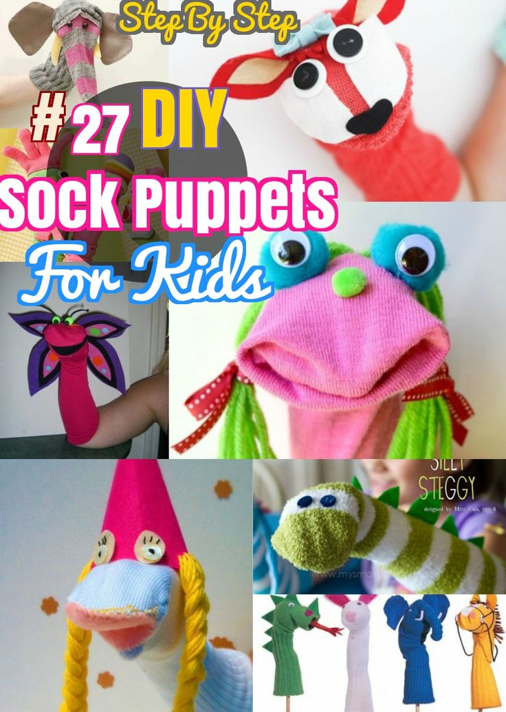 27 DIY Sock Toys: How to Make Sock Animal Puppets for kids. Sock animal crafts and some new sew sock puppets. Elephant, Monkeys, Bunny, Dragon, Dog and Owl Sock toys.
