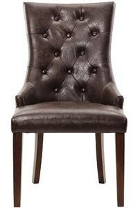 """Rebecca Tufted Accent Chair, 38""""HX22""""WX27""""D, BRWN LTH W BRLP"""